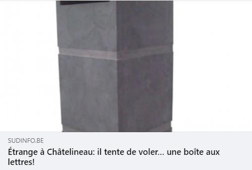 C'est un fait un peu particulier qui a amené la police de Châtelet à se rendre, ce samedi, sur le site du BricoPlanit de Châtelineau : un homme y avait tenté de dérober une boîte aux lettres en pierre !