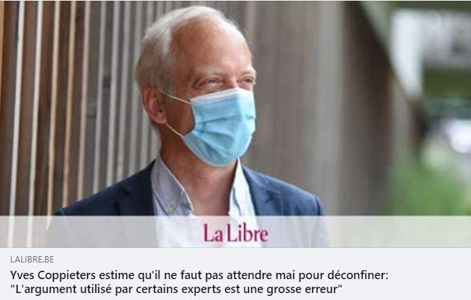 """Une lueur d'espoir, un parfum de petite rébellion dans le chef d'Yves Coppieters vis-à-vis de certains de ses collègues """"experts""""?"""
